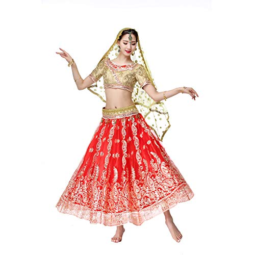 BZ-ZXS Professionelle Lady Belly Dance KostüMe Sets Indian Dress Performance Kleid Bauchtanzkleid,Rot,L (Red Indian Womens Kostüm)