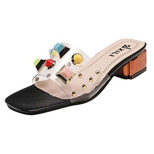 Eaylis Damen Steppquadratkopf-Normallackschmucksachen, Die Buchstaben NäHen Sandalen Sommer Strand Schuhe Hausschuhe Stilvoll