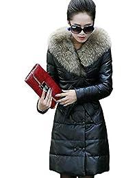 FuweiEncore Giacca Invernale Donna PU Imbottita Giacche in Pelle Slim Warm  PU Cappotti Collo in Pelliccia Doppiopetto… 3830e0fdc14