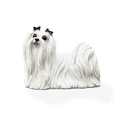 Ertyuk-Decor Skulptur Tierfiguren & Tierstatuen Dekoartikel Tierstatuen Gartenfiguren Simulation Malteser Hund Harz Hund Heimtextilien Autodekoration -