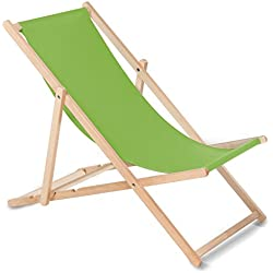 Green Blue Chaise Longue Bain de Soleil Pliable en Bois Livre sans accoudoirs en 10Couleurs Bain de Soleil Chaise Longue de Jardin Chaise Longue (Vert Clair)