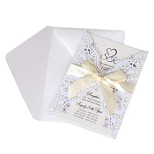 Freedomanoth Einladungskarten Mit Bogen Spitze Einladungen Elegant Hochzeit Einladung Kits Geburtstag Taufe Party Einladung Hochzeitsfeier Feiertags Gruß Karte 10 STÜCKE