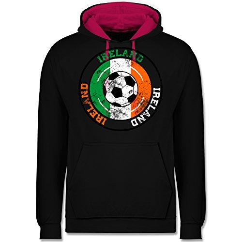 Fußball - Ireland Kreis & Fußball Vintage - Kontrast Hoodie Schwarz/Fuchsia
