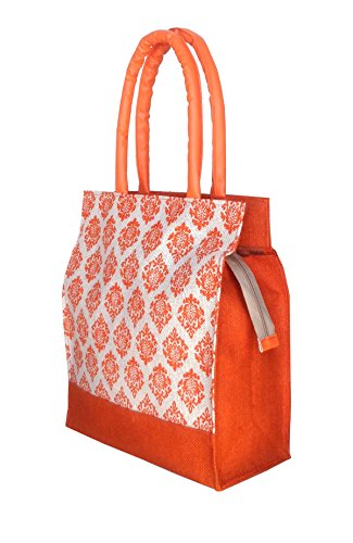 Foonty tote women orange medium jute lunch bag with faux leather handle (FFFWB5020)