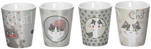 Fox Trot 9070NCHA Set de 4 Gobelets à Café Céramique Chat 23 x 6,5 x 7,5 cm