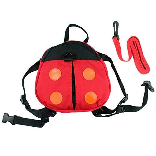 r Rucksack Beutel Kleinkind Rucksack für Kinder die Sicherheit mit abnehmbarem Traktionsseil Karikatur Marienkäfer Muster gehen ()