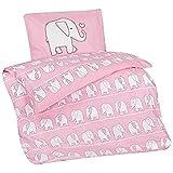 Aminata Kids - Kinder-Bettwäsche 100-x-135 cm Elefant-en-Motiv Tier-e Baby-Bettwäsche Afrika Safari 100-% Baumwolle Rose hell-rosa Weiss