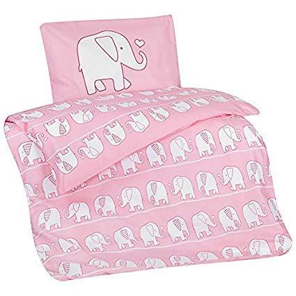 Bettwäsche-Set Elefant-en-Motiv 100-x-135 cm Tier-e Klein-Kinder-Bettwäsche 100-% Baumwolle Rose hell-rosa Weiss Bett-Set ()