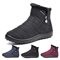 gracosy Womens Snow Boots Winter Fur Lined Warm Ankle Boots Comfy Ladies Flat Slip On Ankle Booties Side Zipper Casual Boots Shoes Fashion High Top Outdoor Anti-Slip Walking Black 6 UK