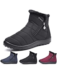 Gracosy Bottes de Neige Femmes Filles, Chaussures Ville Hiver Bottines de  Pluie Imperméable avec Fourrure à Talons Plats Boots Intérieur… ec70c2e8f13a