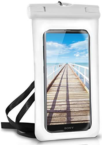 ONEFLOW® wasserdichte Handy-Hülle für alle Sony Xperia | Touch- und Kamera-Fenster + Armband & Schlaufe zum Umhängen, Weiß (Pear-White)