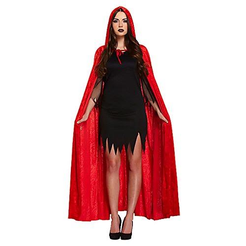 Henbrandt - Erwachsenen Teufel Umhang Samt Rot Halloween Verkleidung