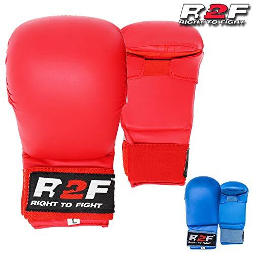 R2F Sports WKF PU Sin Pulgar Karate Mitones Artes