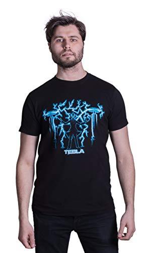 Ann Arbor T-Shirt Company Herren Nikola Tesla, Mad Scientist T-Shirt/Science, Engineering, Physics, Nerd, Geek Tee, X-Large Schwarz