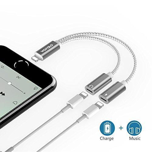 Preisvergleich Produktbild iPhone 8/8plus / X /iphone 7/7 Plus adapter kopfhörer und laden, wofalo dual-Lightning-Adapter Unterstützung Music Control ,aufladen und anrufen,(Kompatibel mit 11 System) (Sliver) …