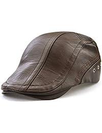 Liyukee Hombres Gorras Planas Cuero PU Ajustable Casquillo de Boina al Aire  Libre Otoño Invierno Sombrero 7d43dc8e7cb