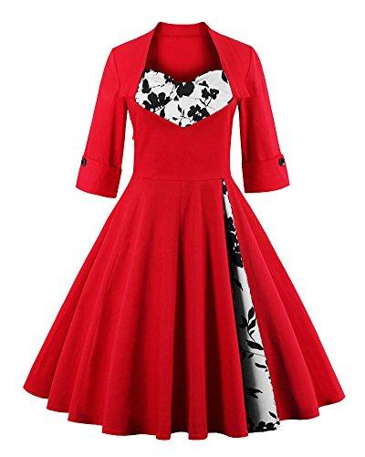 Femme Rétro Robe De Soirée/Bal/Cocktail Courte Vintage Année 40/50 Avec Des Manches 1/2 Avec Nœud De Papillon En Coton Rouge Rose