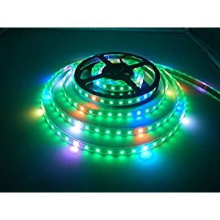 WS2812B Pixels Led Strip, Visdoll 16.4FT WS2812B 300 LEDs 5050 SMD Individually Addressable Dream Color RGB Strip Light DC 5V Waterproof (Black PCB)