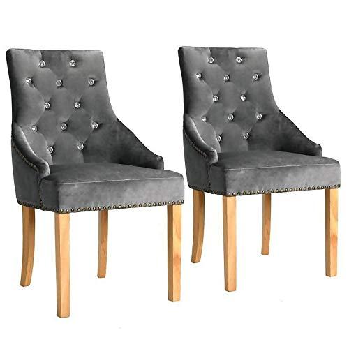 WT Trade 2er-Set Design Esszimmerstuhl SAMT-Bezug Silbern | Küchenstuhl Essstuhl Polstersessel |...