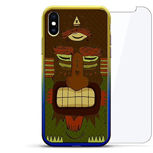 Fantasy: Scary Three-Eyed Tribal Monster | Luxendary Gradient Series 360 Bundle: Clear Ultra Thin Silicone Case + Tempered Glass for iPhone XS/X (5.8