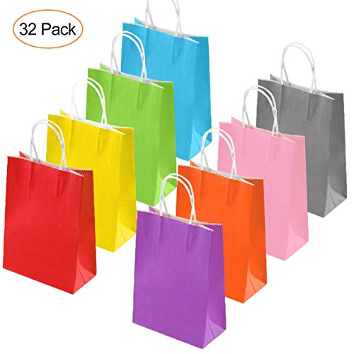 Paper Party Bags 32pcs, Kraftpapier Candy Bag Paper Gift Bag mit Griff für Geburtstag, Hochzeit, Halloween Party Favors (Halloween Bag Designs Paper)