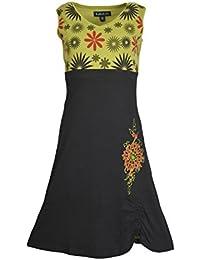 Mesdames robe sans manches Summer V-cou avec motif de fleurs et broderie.