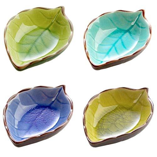 SGerste 4 Stück Blatt Form Porzellan Snackschalen Knabberschale Diptablett Serviertablett Tapas-Schalen 11,4 x 7 x 4,3 cm