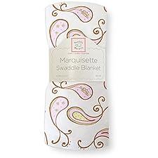 SwaddleDesigns Marquisette Swaddling Blanket, Triplets Paisley (Pastel Pink)