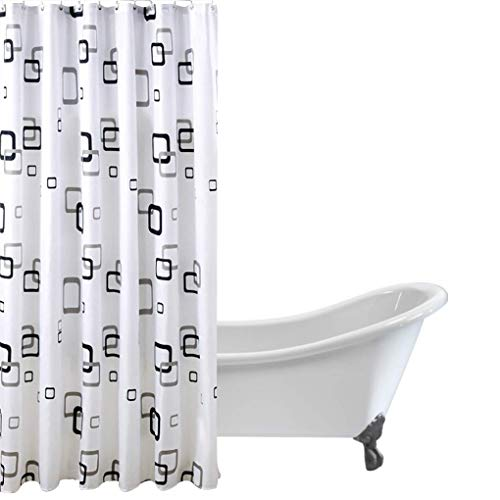 HJL Schwarz Weiß karierte Muster-wasserdichten Duschvorhang Dekor 180 * 220 cm -