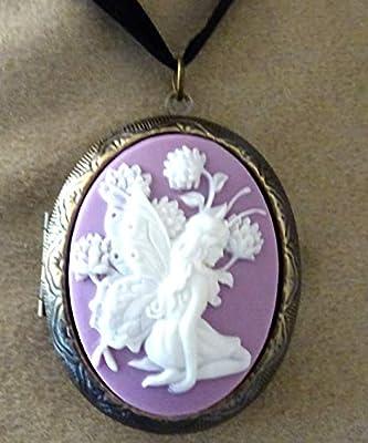 pendentif medaillon porte photo fée et fleurs parme