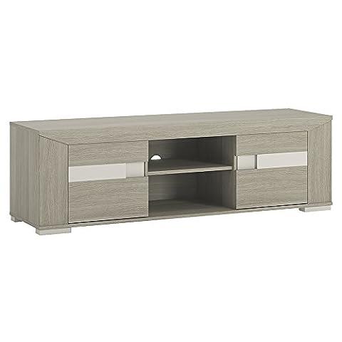 Furniture To Go Madras 2-Door Wide TV Unit with Open Shelf, 155 x 48 x 43 cm, Latte Oak