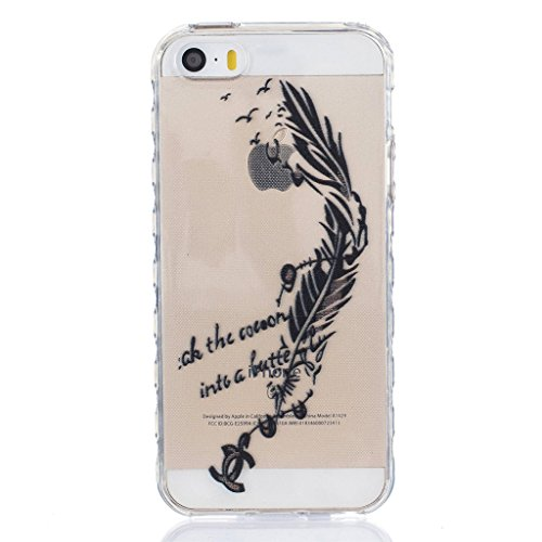 MYTHOLLOGY Coque iPhone 5s /iPhone 5 /iPhone SE Coque Silicone Transparente Souple Housse Protection Antichoc Etui YYQE YGYM
