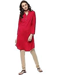 3f02e041ce5 Jaipur Kurti Women s solid pattern collar Kurti with button closure