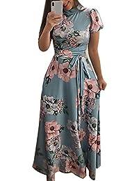 cc9b25c686b SamMoSon Damen Kleider Kleidung Retro Cocktailkleid Rockabilly Sommerkleid  Elegant Knielang Festlich Strandkleid Abendkleid Partykleid Mode O