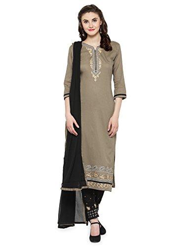 Kvsfab Women's Grey & Black Unstitched Salwar Kameez Material [KVSSK10065SDRS_3]