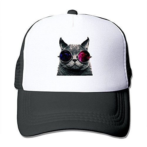 fgjfdjj Crazy Bunny Hat Cool Cool Cat with Glasses Adult Mesh Trucker Hat Cap