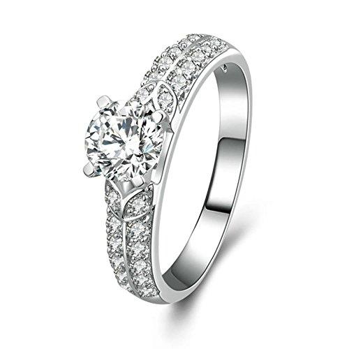 Bishilin 925 Silber Ring Damen 4-Steg-Krappenfassung Rund Brillant Weiß Zirkonia Freundschaftsing Silber Verlobungsring Größe 60 (19.1)