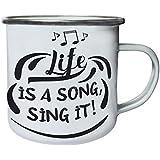 ¡La Vida Es Una Canción, Cántala! Retro, lata, taza del esmalte 10oz/280ml n175e