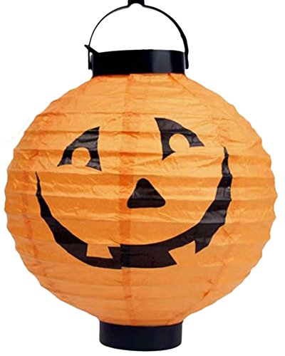 Lanterne di halloween led di zucca con spider bat skeleton paper lanterns della decorazione del partito della lampada giallo