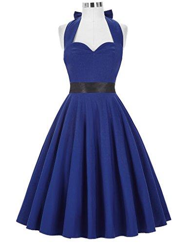 50s Retro Vintage Rockabilly Kleid Neckholder Festliches Kleid Petticoat Kleid CL8950-5(Dunkelblau)