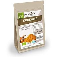 Mister Brown bio kurkuma 0,5kg–500g–de la India Curcuma polvo–kurkuma polvo gemahlen Especias Cocinar y Hornear