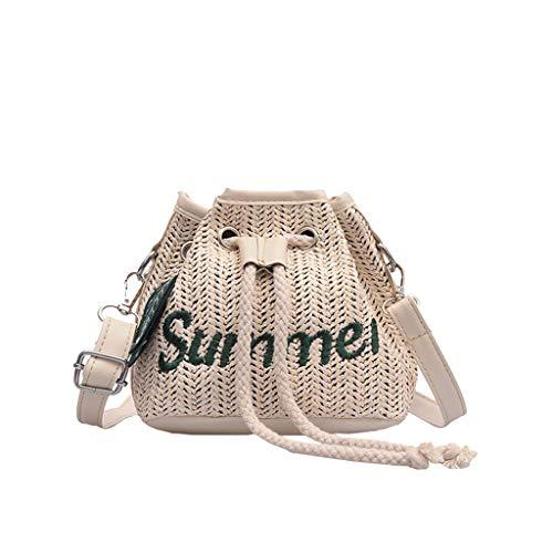 Yuwegr Damen Crossbody Tasche Mode Wild Messenger Bag Casual Stroh Umhängetaschen Bucket Schultertaschen Unisex(Weiß) -