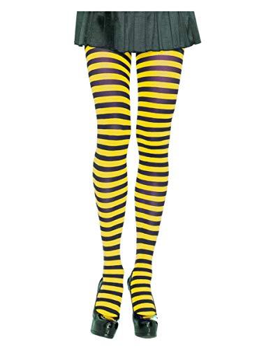 (Horror-Shop Schwarz-gelb gestreifte Strumpfhose für Bienen Kostüme)