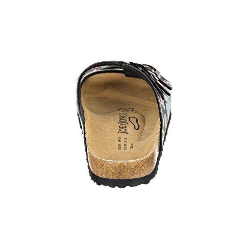 JOE n JOYCE Paris Synsoft Unisex Sandalen Pantoletten mit 3 Riemen Normale Weite Flowered Black