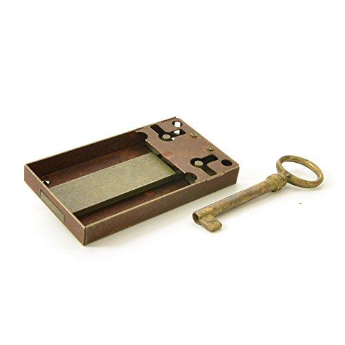 Kastenschloss (Dornmaß 70 mm) und Schlüssel aus Messing