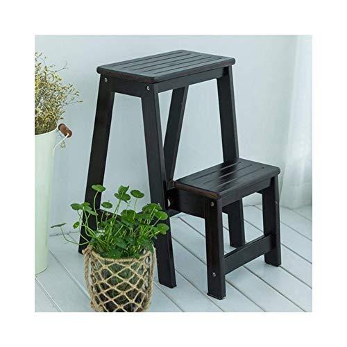 Black Hochschrank (STEP STOOL Trittleiter Holzklapptrittleiter 2-Lagen-Hocker Pedal Wohnzimmer Küche Klappstuhl Treppe Leitern (Color : Black))