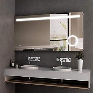 Spiegel Wandspiegel mit LED Beleuchtung 120 x 60 x 4,5 cm Badspiegel Lichtspiegel mit Sensorschalterund, Schminkspiegel und Digital Uhr IP44 energiesparend - Kaltweiß