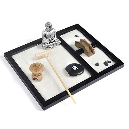 xuanyang524 Zen-Garten-Lachender Buddha-Verzierungs-Statue Naturstein-Geschenkset-Tabellen-Verzierung mit freien Harken und drückendem Sandstift