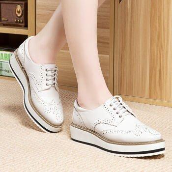 KHSKX-Les Loisirs Nouvelle Chaussure De Femme Bullock Est Tournée Cravate Des Chaussures Épaisses Chaussures Fond Blanc white