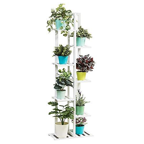 Blumenständer- Bambus-Pflanzenstand 7 Tiers anzeigen Pflanzen Für den Innen- oder Außenbereich mit Balkon und Terrasse - Weiß